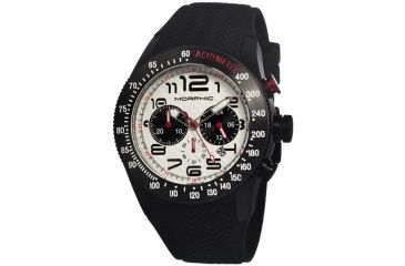 Morphic 0703 M7 Series Mens Watch, White Dial w/ Black Silicone Band, Black Stainless Case MPH0703