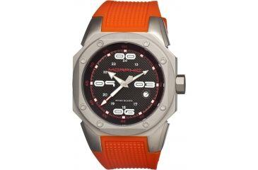 Morphic 1003 M10 Series Mens Watch, Black Dial w/ Orange Rubber Band, Titanium Grey Case MPH1003