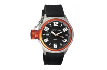 Morphic M24 Series Watch,Black Silicone Band, Orange Bezel,Black Analog Dial,Strap Buckle MPH2404