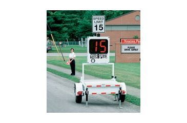 "MPH Industries Speed Monitor 25"" Trailer package, with overspeed, high speed cutoff, 50 Watt solar, extra battery, and SpeedView traffic computer, measuring in km/h MPHSMT25KEX"