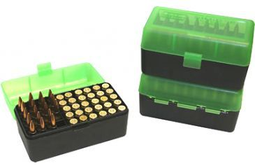 MTM Ammo Box 50 Round Flip-Top 375 Rem Um 375 Wby Mag, Clear Green/Black RLLD-50-16T