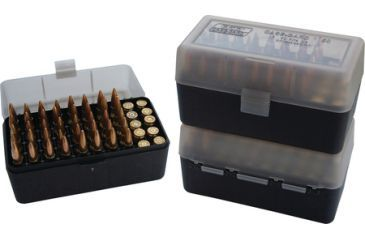 MTM Case-Gard 50 Rifle Ammo Boxes .222 & .222 Magnum Mechanical Hinge Clear Smoke/Black