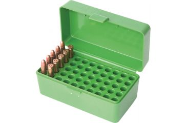 MTM Case-Gard 50 Rifle Ammo Boxes .22 Hornet & .30 Carbine Green 22-HORN-10