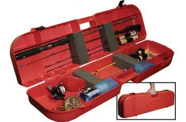 MTM Ice Fishing Rod Box Holds 8 Plus Accessories Red