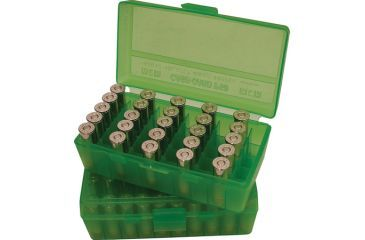 MTM P50 Fliptop Box Handgun .45 ACP/10mm/.40 S&W/.41 AE Clear Green