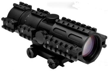 NcSTAR 2-7x32 Riflescope, 3 Rail Sight System & Black P4 Sniper Reticle, Green Lens Coating SC3RSP2732G