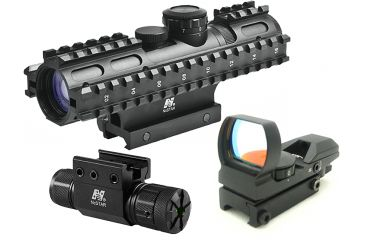 NcStar 3-9x42mm Illuminated 3RS RifleScope Kit 1 - Mil Dot Reticle w/ Green Laser and Red Dot Sight