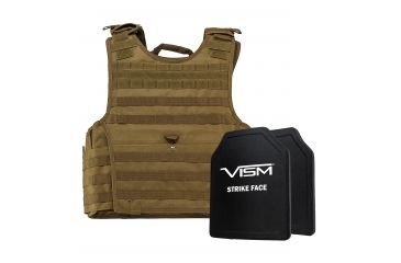 4-NcSTAR Expert Carrier Vest w/Two 10x12in Shooters Cut Hard PE Ballistic Panels