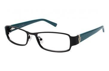 Nicole Miller BENSON Progressive Prescription Eyeglasses - Frame BLACK/TEAL, Size 52/17mm NMBENSON01