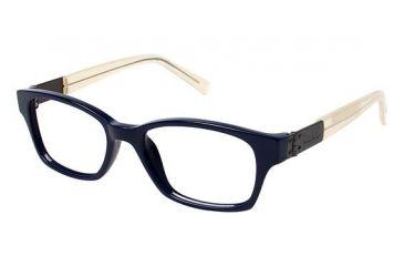 Nicole Miller Centre Progressive Prescription Eyeglasses - Frame BLUE/TRANSLUCENT CREAM, Size 50/16mm NMCENTRE02