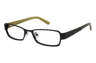 Nicole Miller DOWNING Single Vision Prescription Eyeglasses - Frame Matte Black/Olivine, Size 50/17mm NMDOWNING01