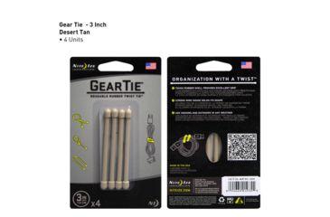 Nite Ize Gear Bendable Tie, 3in - Desert Tan 4 Pack GT3-4PK-25