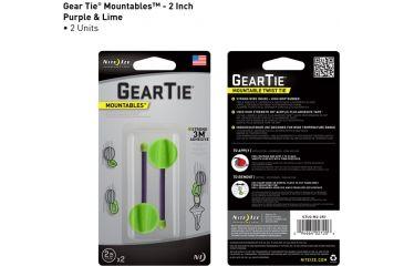 Nite Ize Gear Tie Mountables - 2in, Lime/Purple GTU2-M2-2R7