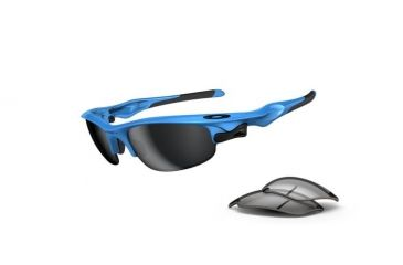 Oakley Fast Jacket Sunglasses, Sky Blue Frame, Black Iridium & Clear Lens OO9097-04