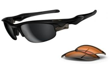 Oakley Fast Jacket Sunglasses - Polished Black Frame w/ Black Iridium & Persimmon Lenses OO9097-01