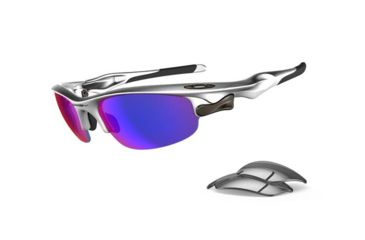 Oakley Fast Jacket Asian Fit Silver Frame w/ Light +Red Iridium Lenses Sunglasses OO9162-11