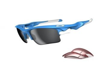 Oakley Fast Jacket Asian Fit XL Sky Blue Frame w/ Black Iridium Lenses Sunglasses OO9163-03