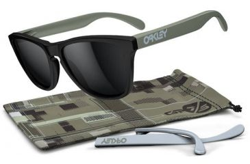 Oakley Frogskins Sunglasses - GP75 Matte Black Frame and Black Iridium Lens 24-335