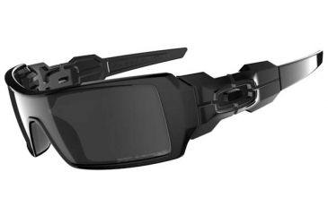 Oakley Oil Rig Sunglasses, Black Iridium Polarized Lens, Polished Black Frame 26-247