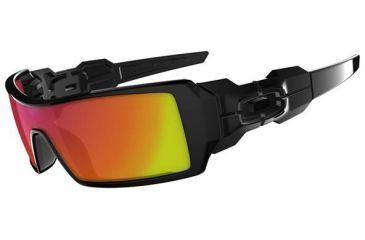 Oakley Oil Rig Sunglasses, Ruby Iridium Lens, Polished Black Frame 26-250