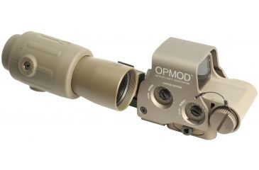 4-EOTech OPMOD MPO II EXPS3-0 Holosight with G23 3X Magnifier - 65 MOA ring and 1 MOA Dot Reticle, Tan