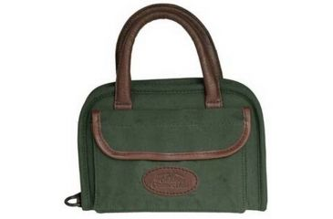 Outdoor Connection Supreme Rectangular Pistol Case, Green Canvas & Leather Trim, Handle, 11 Inch