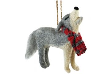 Outside Inside Felted Howling Wolf Ornament 99264