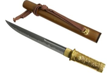 Paul Chen Bushido Tanto, K120C powder steel blade, Gold plated brass handle PC1212