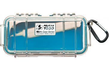 Pelican 1030 Micro Watertight Dry Box, 7.50x3.87x2.43in - Clear Blue, Carabiner Loop