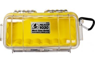 Pelican 1030 Micro Watertight Dry Box, 7.50x3.87x2.43in - Clear Yellow, Carabiner
