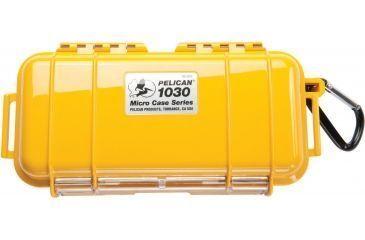Pelican 1030 Micro Watertight Dry Box, 7.50x3.87x2.43in - Solid Yellow w/Carabiner