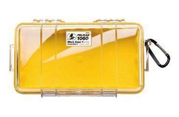 Pelican 1060 Micro Watercrushproof Dry Box 9 37x5 56x2 62in Solid Yellow Wcarabiner