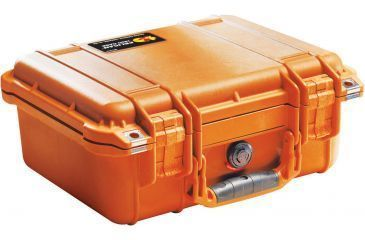 Pelican 1400 Small 13x11x6in Protector Waterproof Carry Case, Orange, No Foam
