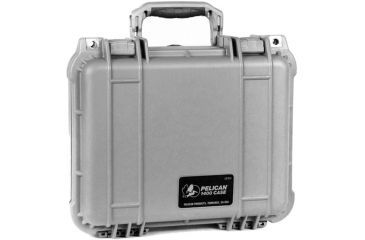 Pelican 1400 Small 13x11x6in Protector Waterproof Carry Case, Silver w/ Foam