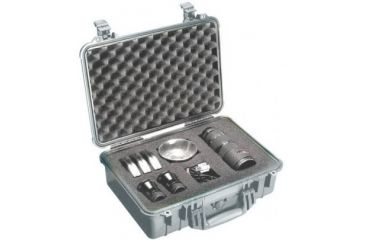 Pelican 1504 Medium Crushproof Dry Case 18 5x14x7in Silver W Liner And Dividers