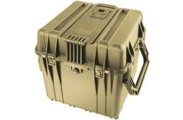 Pelican 340 Watertight Protector 18in Cube Case W Wheels Padded Divider Tan