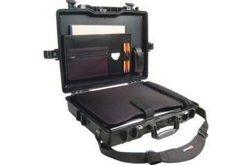 4-Pelican 1495 CC1 Laptop Computer Deluxe Carrying Black Case w/ Lid Organizer, Fitted Shock Absorbing Tray and Removable Shoulder Strap
