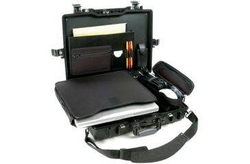 5-Pelican 1495 CC1 Laptop Computer Deluxe Carrying Black Case w/ Lid Organizer, Fitted Shock Absorbing Tray and Removable Shoulder Strap