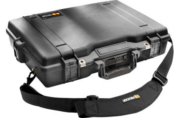 2-Pelican 1495 CC1 Laptop Computer Deluxe Carrying Black Case w/ Lid Organizer, Fitted Shock Absorbing Tray and Removable Shoulder Strap