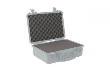Pelican 1500 Medium Crushproof Dry Case, 18.5x14x7in, Silver w/ Liner and Foam