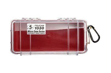 Pelican Micro Case 1030 - Clear Carabiner Loop Red Dry Box