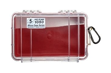 Pelican Micro Case 1050 - Clear Carabiner Loop Red Dry Box