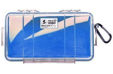 Pelican Micro Case 1060 Clear Carabiner Loop Blue Dry Box