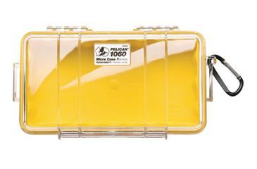 Pelican Micro Case 1060 - Clear Carabiner Loop Yellow Dry Box