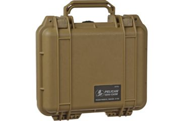 Pelican Small Desert Tan Case 1200 with Foam - Front