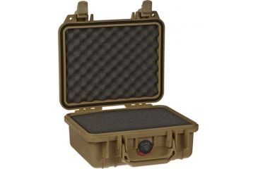 Pelican Small Desert Tan Case 1200 with Foam- Opened