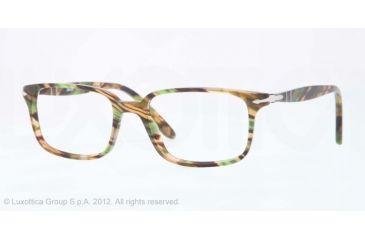 Persol PO3013V Bifocal Prescription Eyeglasses 974-51 - Brown Stripped Green Frame, Demo Lens Lenses