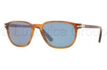 Persol PO3019S Sunglasses 96/56-5218 - Light Havana Frame, Crystal Blue Lenses