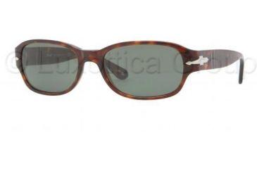 Persol PO3022S Sunglasses 24/31-5618 - Havana Frame, Crystal Green Lenses