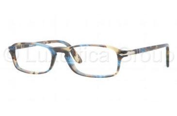 Persol PO3035V Progressive Prescription Eyeglasses 973-5117 - Brown Spotted Blue Frame, Demo Lens Lenses